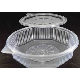 Ripboxx Meal tray 1100cc 1-Compartment PP Transparent With tear-off hinged lid