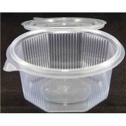 Ripboxx Salad container 1000cc PP Transparent With tear-off hinged lid