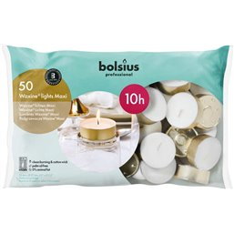 Bolsius Professional Maxi Waxine® lichten Wit -10 Branduren-  24/60