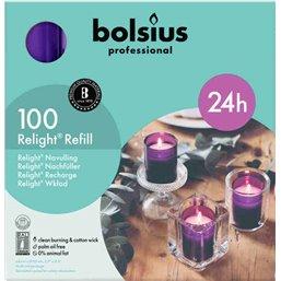 Bolsius Professional ReLight navullingen Paars -24 Branduren-  64/52