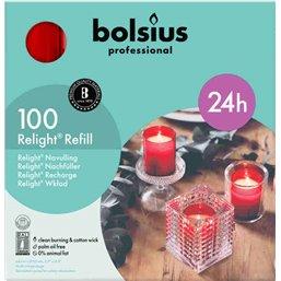 Bolsius Professional ReLight navullingen Rood -24 Branduren-  64/52
