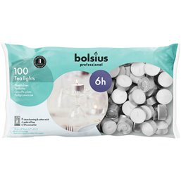 Bolsius Professional Theelichten Wit -6 Branduren-  16/38
