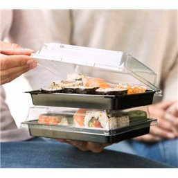 Sushi Schaaltjes Nr.17 PET Zwart + Antifog  Deksels Pet Transparant 215 × 130 × 18mm (413)