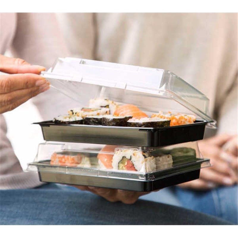 Sushi Trays Nr.16 PET Black + Antifog Lids Pet Transparent 185 x 127 x 20mm