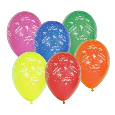 """Ballonnen """"Happy Birthday"""" Kleuren Assortiment Ø 290mm -horecavoordeel.com-"""
