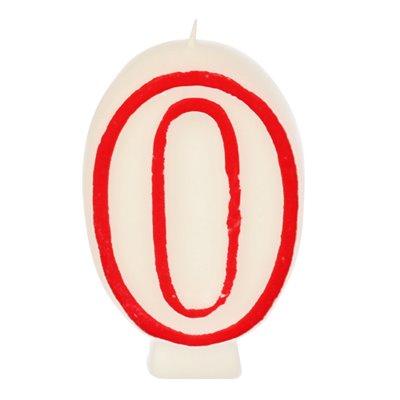 """Verjaardagskaarsjes Getal """"0"""" Wit Met Rode Rand 73mm -horecavoordeel.com-"""