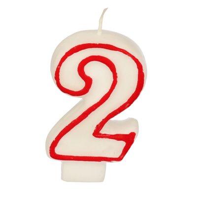 """Verjaardagskaarsjes Getal """"2"""" Wit Met Rode Rand 73mm -horecavoordeel.com-"""