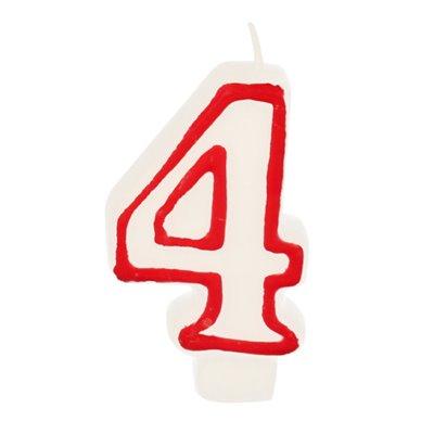 """Verjaardagskaarsjes Getal """"4"""" Wit Met Rode Rand 73mm -horecavoordeel.com-"""