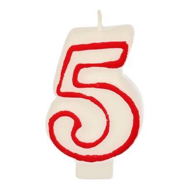 """Verjaardagskaarsjes Getal """"5"""" Wit Met Rode Rand 73mm -horecavoordeel.com-"""