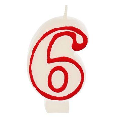 """Verjaardagskaarsjes Getal """"6"""" Wit Met Rode Rand 73mm -horecavoordeel.com-"""