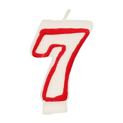 """Verjaardagskaarsjes Getal """"7"""" Wit Met Rode Rand 73mm -horecavoordeel.com-"""