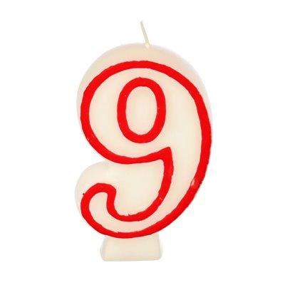 """Verjaardagskaarsjes Getal """"9"""" Wit Met Rode Rand 73mm -horecavoordeel.com-"""