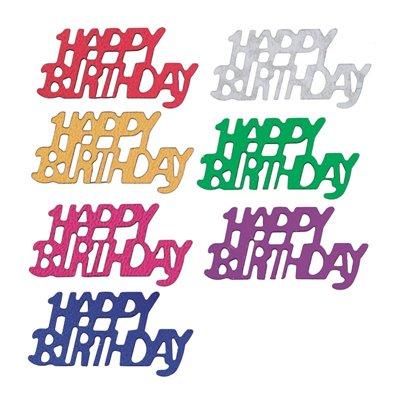 """Strooidecoratie Folie """"Happy Birthday"""" Kleuren Assortiment 15 Gram -horecavoordeel.com-"""