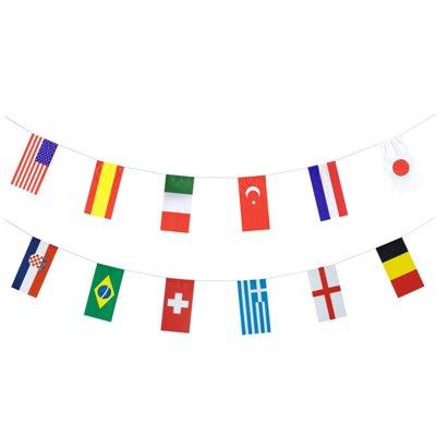 "Vlaggetjes Slinger Papier ""32 Nations"" Brandvertagend 10 meter -horecavoordeel.com-"