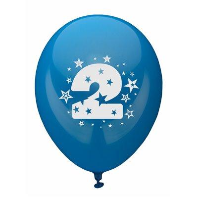 """Ballonnen Cijfer """"2"""" Kleuren Assortiment (Geschikt voor Helium) Ø 250mm -horecavoordeel.com-"""