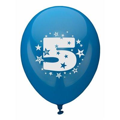 """Ballonnen Cijfer """"5"""" Kleuren Assortiment (Geschikt voor Helium) Ø 250mm -horecavoordeel.com-"""