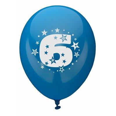 """Ballonnen Cijfer """"6"""" Kleuren Assortiment (Geschikt voor Helium) Ø 250mm -horecavoordeel.com-"""