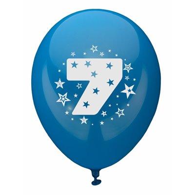 """Ballonnen Cijfer """"7"""" Kleuren Assortiment (Geschikt voor Helium) Ø 250mm -horecavoordeel.com-"""