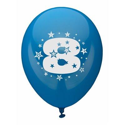 """Ballonnen Cijfer """"8"""" Kleuren Assortiment (Geschikt voor Helium) Ø 250mm -horecavoordeel.com-"""