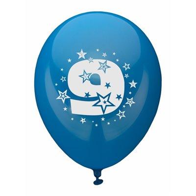 """Ballonnen Cijfer """"9"""" Kleuren Assortiment (Geschikt voor Helium) Ø 250mm -horecavoordeel.com-"""