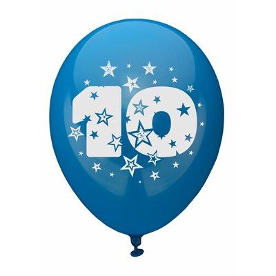 """Ballonnen Cijfer """"10"""" Kleuren Assortiment (Geschikt voor Helium) Ø 250mm -horecavoordeel.com-"""