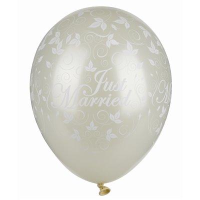 """Ballonnen Ivoor """"Just Married"""" Mettallic (Geschikt voor Helium) Ø 290mm -horecavoordeel.com-"""