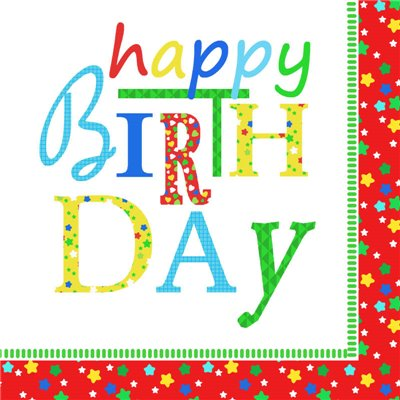 """Servetten 3-Laags """"Happy Birthday"""" 1/4 vouw 330 x 330mm -horecavoordeel.com-"""