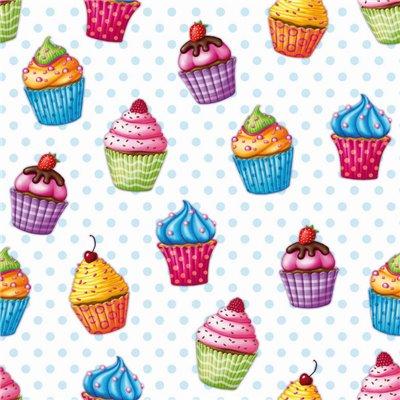 """Servetten 3-Laags """"Cupcakes"""" 1/4 vouw 330 x 330mm -horecavoordeel.com-"""