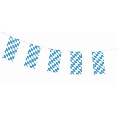 """Vlaggetjes Slinger Papier """"Beiers Blauw"""" Brandvertagend 10 meter -horecavoordeel.com-"""