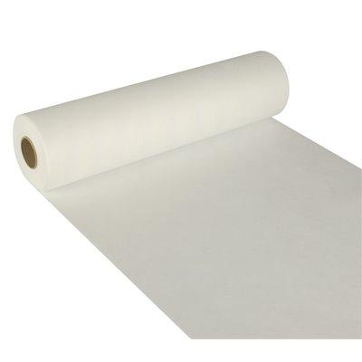 "Tafelloper Wit Non Woven ""Textielkarakter"" ""soft selection"" 24m x 400mm -horecavoordeel.com-"