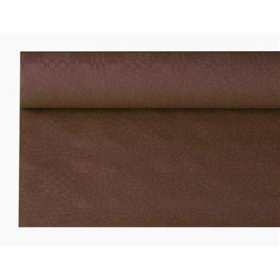 Tafelkleed Papier Rol Bruin Met Damastprint 8 x 1,2 meter -horecavoordeel.com-