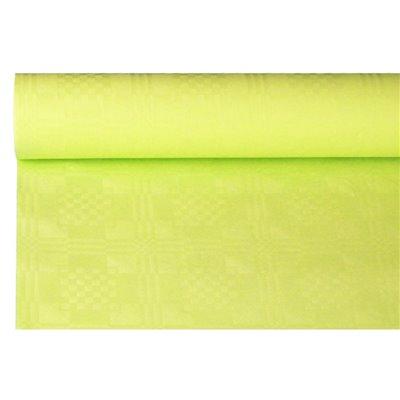 Tafelkleed Papier Rol Limoengroen Met Damastprint 8 x 1,2 meter -horecavoordeel.com-