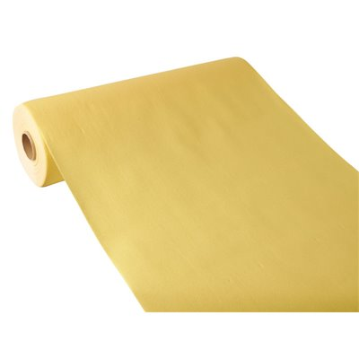 """Tafelloper Geel """"Textielkarakter"""" Van Pulp Viscose En Tissue Mix """"ROYAL Collection"""" 24m x 400mm -horecavoordeel.com-"""