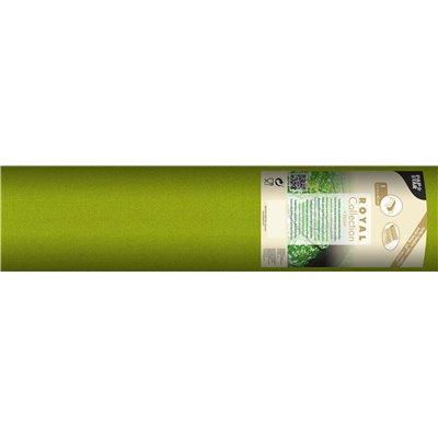 """Tafelloper Olijfgroen """"Textielkarakter"""" Van Pulp Viscose En Tissue Mix """"ROYAL Collection"""" 24m x 400mm -horecavoordeel.com-"""