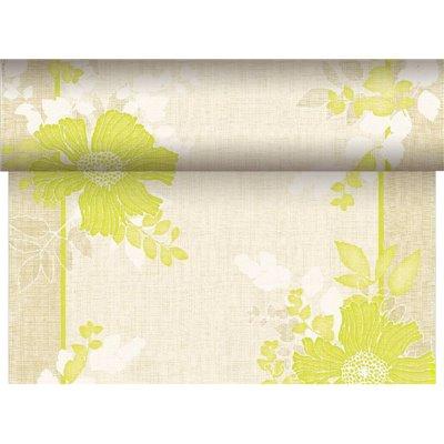 "Tafelloper Groen ""Annabel"" ""Textielkarakter"" Van Pulp Viscose En Tissue Mix ""ROYAL Collection"" 24m x 400mm -horecavoordeel.com-"