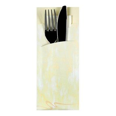 Bestekzakjes Crème 200 x 85mm Inclusief 2-Laags Wit Servet 330 x 330mm -horecavoordeel.com-