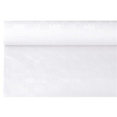 Tafelkleed Papier Rol Wit Met Damastprint 6 x 1,2 meter -horecavoordeel.com-