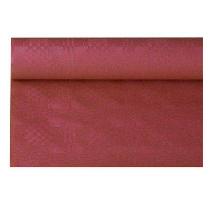 Tafelkleed Papier Rol Bordeaux Met Damastprint 6 x 1,2 meter -horecavoordeel.com-