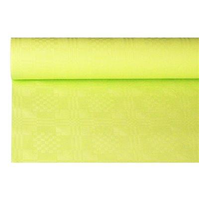 Tafelkleed Papier Rol Limoengroen Met Damastprint 6 x 1,2 meter -horecavoordeel.com-