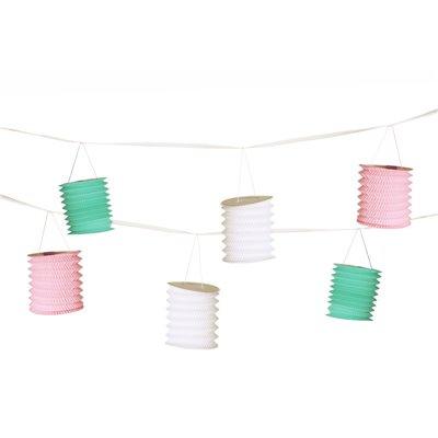 """Slinger """"Pastel"""" Wit Mint Roze Met 8 Lantaarns 3,6 meter -horecavoordeel.com-"""