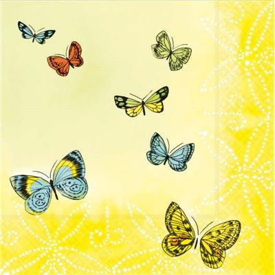 """Servetten 3-Laags """"Papillons"""" 1/4 vouw 330 x 330mm -horecavoordeel.com-"""