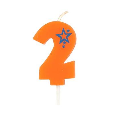 """Getal Kaarsen Cijfer """"2"""" Oranje Klein 68mm -horecavoordeel.com-"""