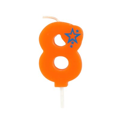 """Getal Kaarsen Cijfer """"8"""" Oranje Klein 68mm -horecavoordeel.com-"""