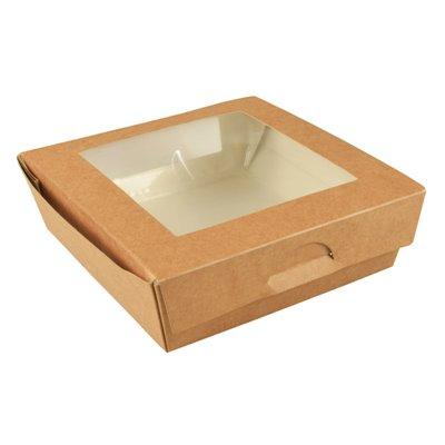 """Cateringdoosje Saladebak Bruin karton Met PLA Venster """"Pure"""" 140 x 140 x 50mm -horecavoordeel.com-"""