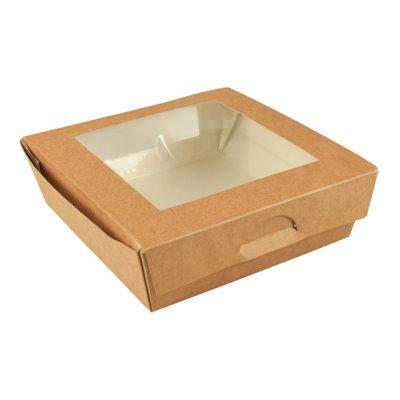 """Cateringdoosje Saladebak Bruin karton Met PLA Venster """"Pure"""" 160 x 160 x 50mm -horecavoordeel.com-"""
