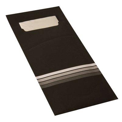 """Bestekzakjes Zwart Wit """"Stripes"""" 200 x 85mm Inclusief 2-Laags Gekleurde Servet 330 x 330mm -horecavoordeel.com-"""