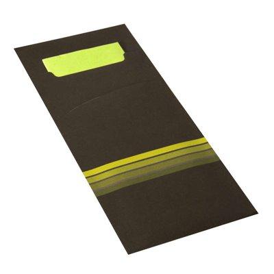 """Bestekzakjes Zwart Limoengroen """"Stripes"""" 200 x 85mm Inclusief 2-Laags Gekleurde Servet 330 x 330mm -horecavoordeel.com-"""
