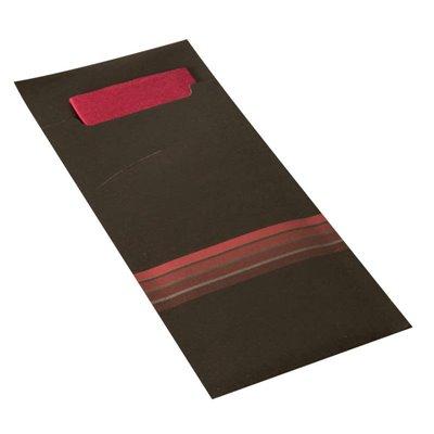 """Bestekzakjes Zwart Donkerrood """"Stripes"""" 200 x 85mm Inclusief 2-Laags Gekleurde Servet 330 x 330mm -horecavoordeel.com-"""