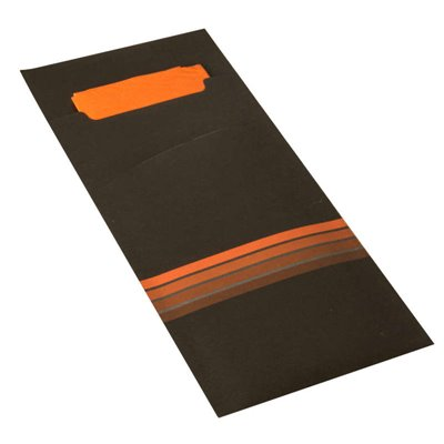 """Bestekzakjes Zwart Oranje """"Stripes"""" 200 x 85mm Inclusief 2-Laags Gekleurde Servet 330 x 330mm -horecavoordeel.com-"""