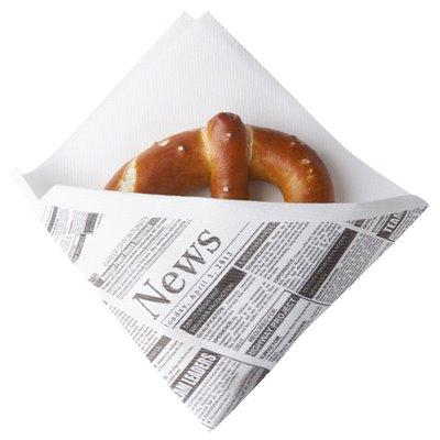 """Snack Servetten Airlaid Wit """"Newsprint"""" 1/4 Vouw 325 x 305mm -horecavoordeel.com-"""